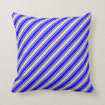[ Thumbnail: Tan and Blue Lines Throw Pillow ]