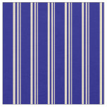[ Thumbnail: Tan and Blue Striped Pattern Fabric ]