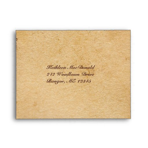 Tan and Brown Aged Paper Look Envelope for RSVP