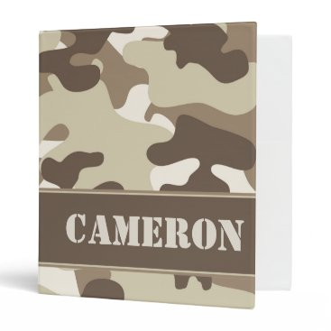 Beach Themed Tan and Brown Camo (Camouflage) | Personalized Binder