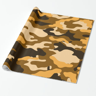 Tan and Brown Camo Camouflage Wrapping Paper