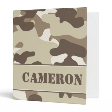 Beach Themed Tan and Brown Camouflage (Camo) | Personalized Binder