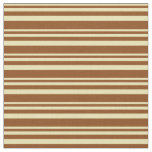 [ Thumbnail: Tan and Brown Colored Lines/Stripes Pattern Fabric ]