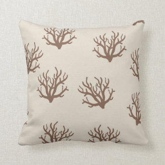 Tan and Brown Coral pattern pillow