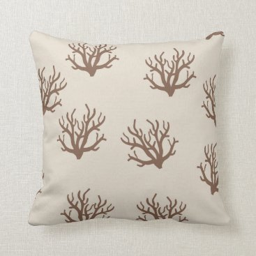 Beach Themed Tan and Brown Coral pattern pillow