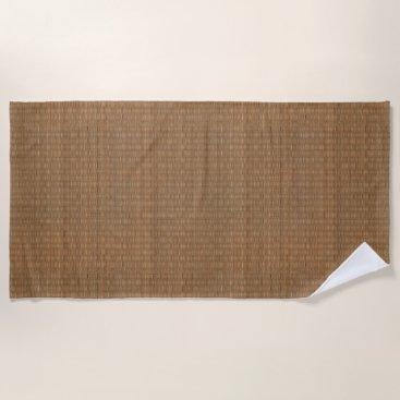 Beach Themed Tan and Brown Faux Bamboo Straw Beach Towel