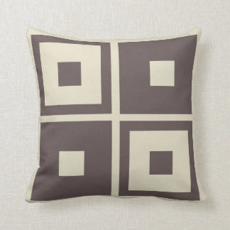 Tan and Brown Geometic Pattern Throw Pillow