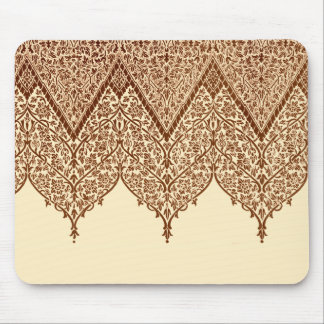 Tan and Brown Indian Lace Vintage Design Pattern Mouse Pad