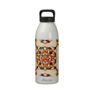 Tan and brown oriental rug design! reusable water bottle