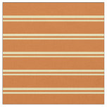 [ Thumbnail: Tan and Chocolate Stripes/Lines Pattern Fabric ]