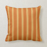 [ Thumbnail: Tan and Chocolate Stripes/Lines Pattern Pillow ]