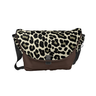 Tan and Coffee Leopard Print Pattern Small Messenger Bag
