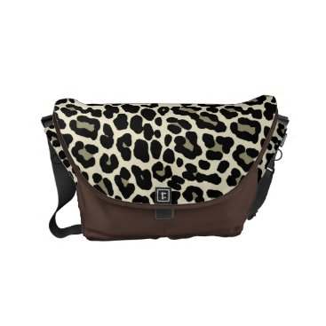 Coffee Themed Tan and Coffee Leopard Print Pattern Small Messenger Bag