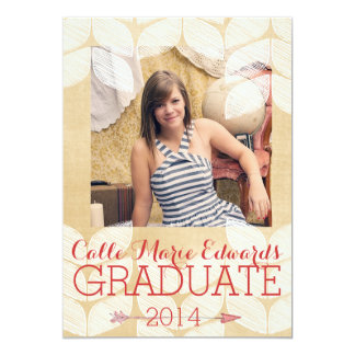 Tan and Coral Leaves Photo Graduation Announcement