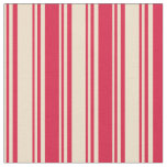 [ Thumbnail: Tan and Crimson Colored Stripes Fabric ]