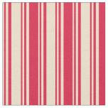 [ Thumbnail: Tan and Crimson Colored Stripes Fabric ]
