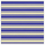 [ Thumbnail: Tan and Dark Blue Colored Lines Fabric ]