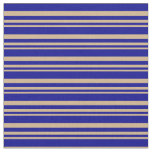[ Thumbnail: Tan and Dark Blue Colored Pattern Fabric ]