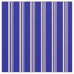 [ Thumbnail: Tan and Dark Blue Colored Pattern of Stripes Fabric ]