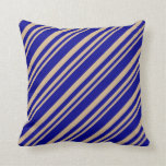 [ Thumbnail: Tan and Dark Blue Colored Pattern Throw Pillow ]