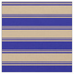 [ Thumbnail: Tan and Dark Blue Colored Striped/Lined Pattern Fabric ]
