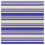 [ Thumbnail: Tan and Dark Blue Lines Pattern Fabric ]