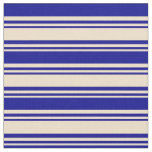 [ Thumbnail: Tan and Dark Blue Lines/Stripes Pattern Fabric ]