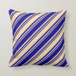 [ Thumbnail: Tan and Dark Blue Lines/Stripes Pattern Pillow ]