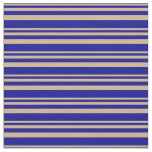 [ Thumbnail: Tan and Dark Blue Pattern of Stripes Fabric ]