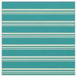 [ Thumbnail: Tan and Dark Cyan Colored Pattern Fabric ]