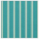 [ Thumbnail: Tan and Dark Cyan Lines Pattern Fabric ]