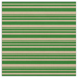 [ Thumbnail: Tan and Dark Green Colored Lined Pattern Fabric ]