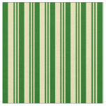 [ Thumbnail: Tan and Dark Green Colored Lines Pattern Fabric ]