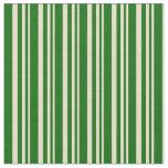 [ Thumbnail: Tan and Dark Green Lines Pattern Fabric ]