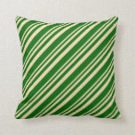 [ Thumbnail: Tan and Dark Green Lines Pattern Throw Pillow ]