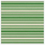 [ Thumbnail: Tan and Dark Green Lines/Stripes Pattern Fabric ]