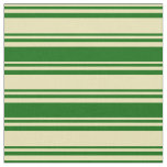 [ Thumbnail: Tan and Dark Green Lines/Stripes Pattern Fabric ]