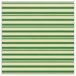 [ Thumbnail: Tan and Dark Green Stripes Fabric ]