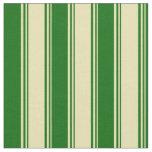 [ Thumbnail: Tan and Dark Green Stripes/Lines Pattern Fabric ]