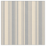 [ Thumbnail: Tan and Dark Grey Colored Lined Pattern Fabric ]