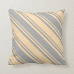 [ Thumbnail: Tan and Dark Grey Colored Lined Pattern Pillow ]