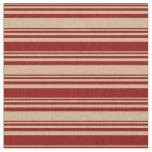 [ Thumbnail: Tan and Dark Red Colored Lines Pattern Fabric ]
