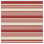 [ Thumbnail: Tan and Dark Red Colored Lines/Stripes Pattern Fabric ]