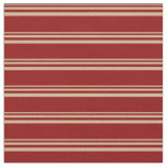 [ Thumbnail: Tan and Dark Red Colored Pattern of Stripes Fabric ]