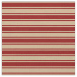 [ Thumbnail: Tan and Dark Red Colored Striped Pattern Fabric ]