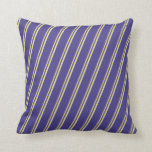 [ Thumbnail: Tan and Dark Slate Blue Stripes/Lines Pattern Throw Pillow ]