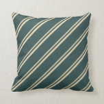 [ Thumbnail: Tan and Dark Slate Gray Colored Stripes Pattern Throw Pillow ]