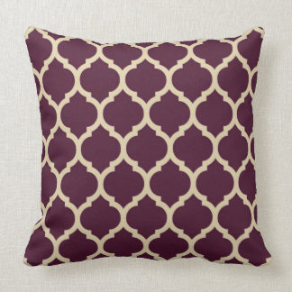Tan and Elegan Purple Quatrefoil Moroccan lattice Throw Pillow