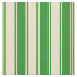 [ Thumbnail: Tan and Forest Green Colored Lines Pattern Fabric ]