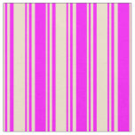 [ Thumbnail: Tan and Fuchsia Colored Lines/Stripes Pattern Fabric ]
